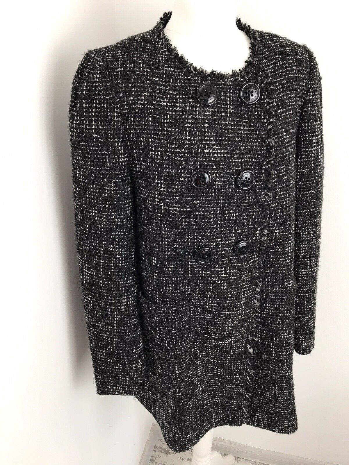 BCBG Generation Black Collarless Coat Size L Double Breasted Pockets