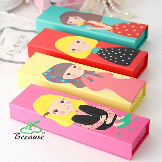 Cute Girl Makeup Paper Box Pencil Pen Case School Pencil-box Cartoon Stationery