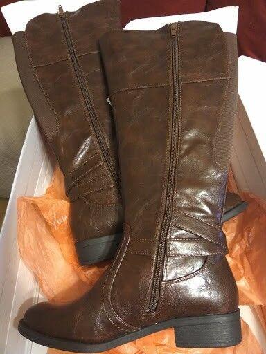 Para Para Para mujeres botas De Cuero Marrón Real Yuu más amplia de la pantorrilla UK Talla 4 Totalmente Nuevo En Caja  comprar marca