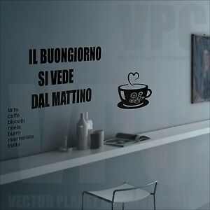 Wall stickers tazza buon giorno decal adesivi murali for Stickers cucina