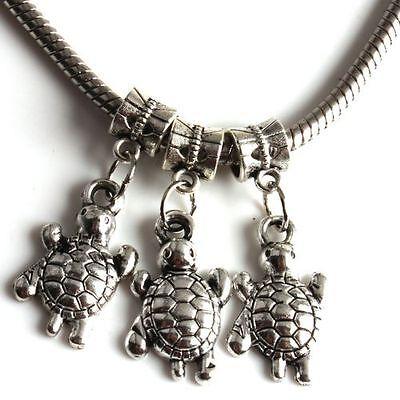 40x TIBETAN SILVER Cute Tortoise Dangle Charms Pendant Beads Fit Bracelet 151484