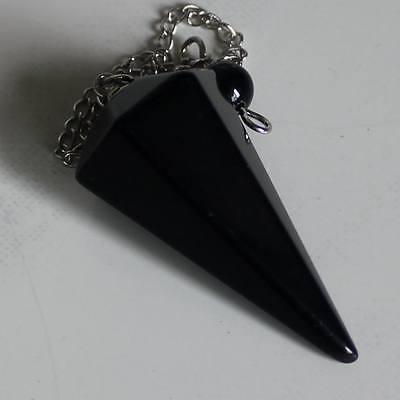 g1330   Faceted black obsidian hexagonal point pendulum pendant