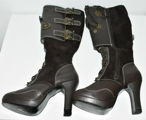 Demonia Boots Knee-High 'Crypto' Steampunk Women's