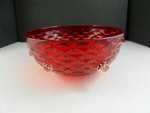 "Pottery & Glass Italian Art Glass Serving Bowl Diamond Thumbprint Ruby Clear Prunts Wafer Foot 8 1/4"" T"
