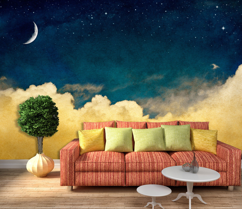 3D Gelbe Wolken MondFototapeten Wandbild Fototapete Bild Tapete Familie Kinder