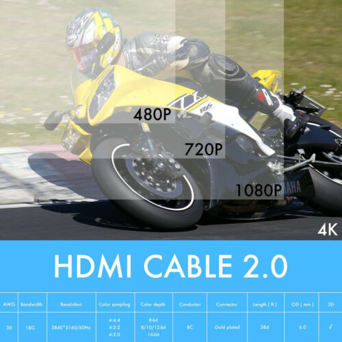 Newest 3FT 6FT 10FT HDMI V2.0 Cable 18Gbps Ultra-HD 2160P@60HZ-Lifetime Warranty