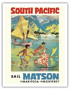Tahiti-South-Pacific-Matson-Vintage-Ocean-Liner-Travel-Art-Poster-Print-Giclee