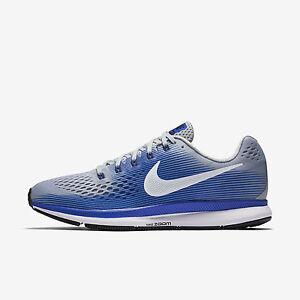 Mens Nike Air Zoom Pegasus 34 Sz 8-13 Grey/White/Blue 880555-007 FREE SHIPPING