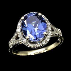 MICHAEL-HILL-10K-417-Yellow-Gold-Created-Blue-Sapphire-amp-Diamond-Halo-Ring