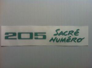 Sticker-Autocollant-monogramme-coffre-Peugeot-205-Sacre-Numero-modele-2