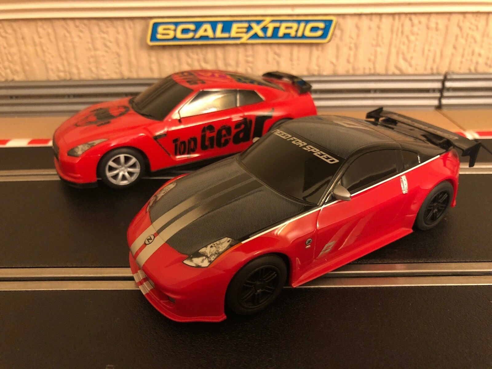 Scalextric Nissan 350z v Nissan GTR Fully Serviced & Brand New Braids Fitted