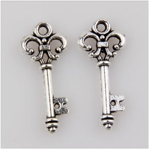 50 Key Tibetan Silver Charms Pendants Jewelry Making Findings 25mm EIF0152
