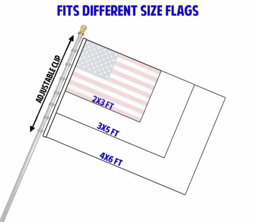 Thin Blue Red Line 3 x 5 FT Flag 6 Ft Silver Spinning Tangle Free Pole Bracket