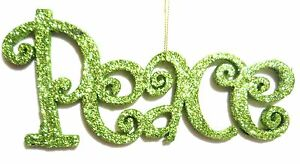 7-034-GREEN-GLITTER-034-PEACE-034-CHRISTMAS-HANGING-DECORATION-TREE-ORNAMENT-PRINT-LETTER