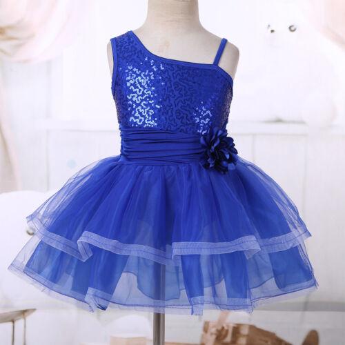 Girls Sequin Ballet Dance Dress Gymnastic Leotard Ballerina Tutu Skirt Costumes