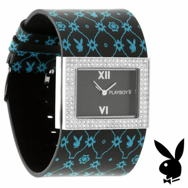 NEW RARE Playboy Watch Ladies Black Leather Silver Stainless Steel Crystal Gem