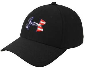 big sale bff7a 603b0 Image is loading Under-Armour-Freedom-Blitzing-Hat-Black-White-Red-