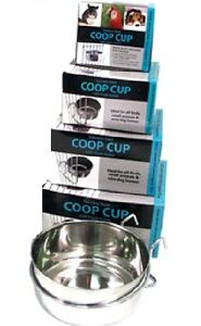 STAINLESS-STEEL-TOUGH-METAL-COOP-CUP-SMALL-ANIMAL-BIRD-DOG-CRATE-FOOD-WATER-BOWL