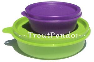 New-TUPPERWARE-Small-Bowls-Set-2-Green-Little-Wonder-Purple-Half-Mini-Snack-Cup
