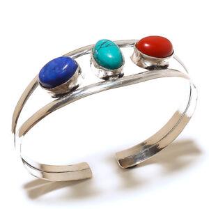Beautiful-Silver-Overlay-Multi-Cuff-Bangel-Handmade-Gemstone-Jewelry