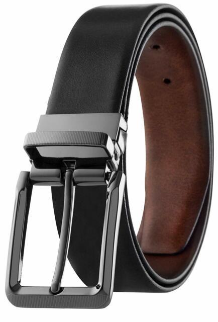 Men/'s Reversible Classic Dress Belt Italian Top Grain Leather Black Brown Tan
