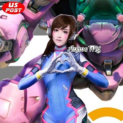Overwatch D.Va Reddish Brown 60CM Long Wavy Hair Women Cosplay Wig + Wig Cap