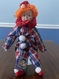 "SCHMID Porcelain PIERROT LOVE 12"" Clown Doll with Stand Plaid Orange Hair"