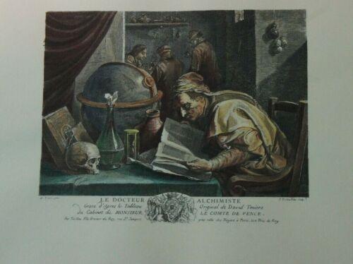 Unbekannter Künstler Kupferstich koloriert Reproduktion Alchimist O-1615