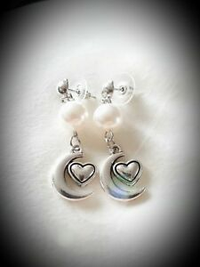 Handmade-faux-pearl-dangle-charm-earrings-034-antique-silver-034-various-charms