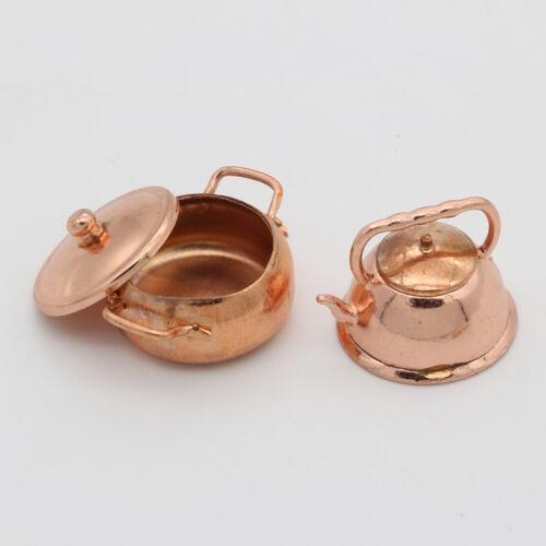 1:12 Dollhouse miniature bronzo padella pentola bollitore kit da cucina CRIT