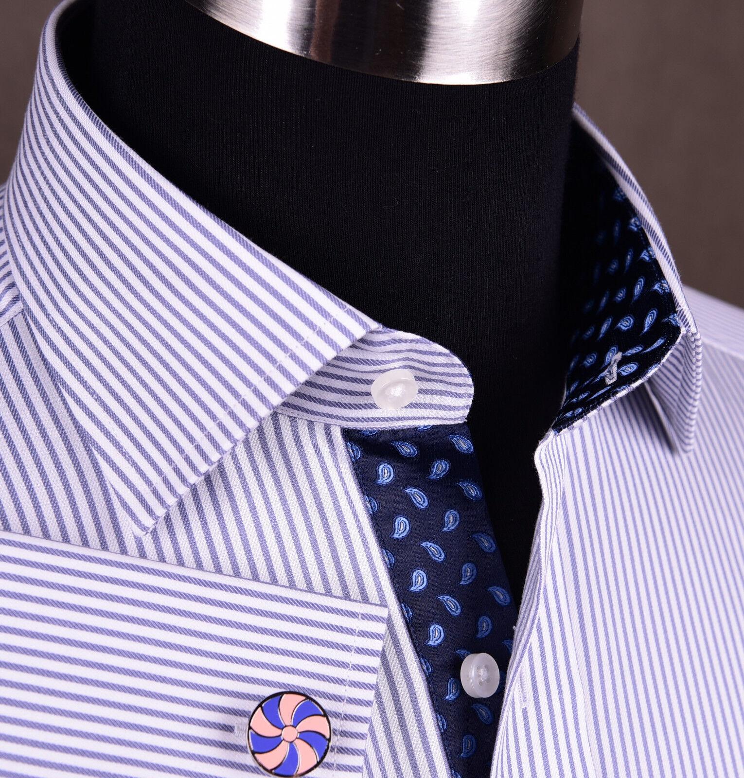 Luxury lila Stripe Formal Geschäft Dress Shirt Blau Floral Violet Herringbone
