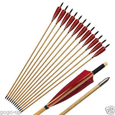 12pcs 33/'/' Handmade Wood Arrow Turkey Feather Recurve Longbow Compound Bow
