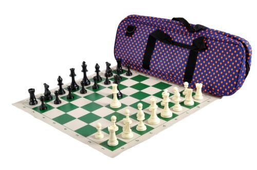 Royal Blue /& Orange Polka Dots Solid Plastic Deluxe Chess Set Combination