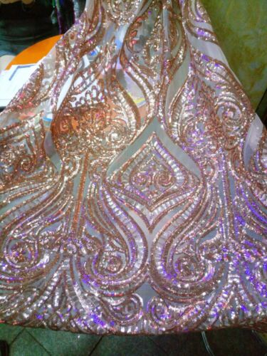 2019 Embroidered Sequins Mesh Lace Fabric Dress Evening Gown Event 51/'/'// Yard