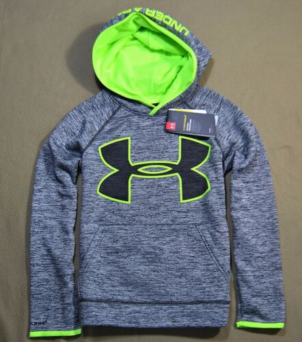 NWT BOYS YOUTH UNDER ARMOUR HTHR GRAY NEON PULLOVER HOODIE JACKET COAT YSZ XS-XL