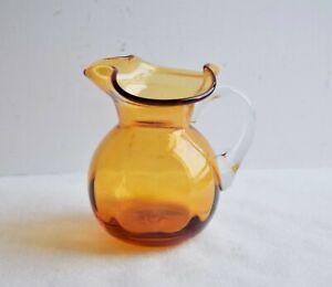 Amber-Hand-Blown-Glass-Pitcher-4-034-Tall-Small-Glass-Carafe