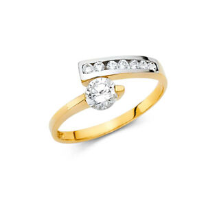 Women-14k-Yellow-White-Real-Gold-CZ-Round-Solitaire-Fancy-Fashion-Ring-Band