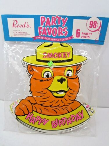 VINTAGE 1960/'S SMOKEY THE BEAR CHARACTER PARTY FAVORS 6 PARTY HATS UNOPENED