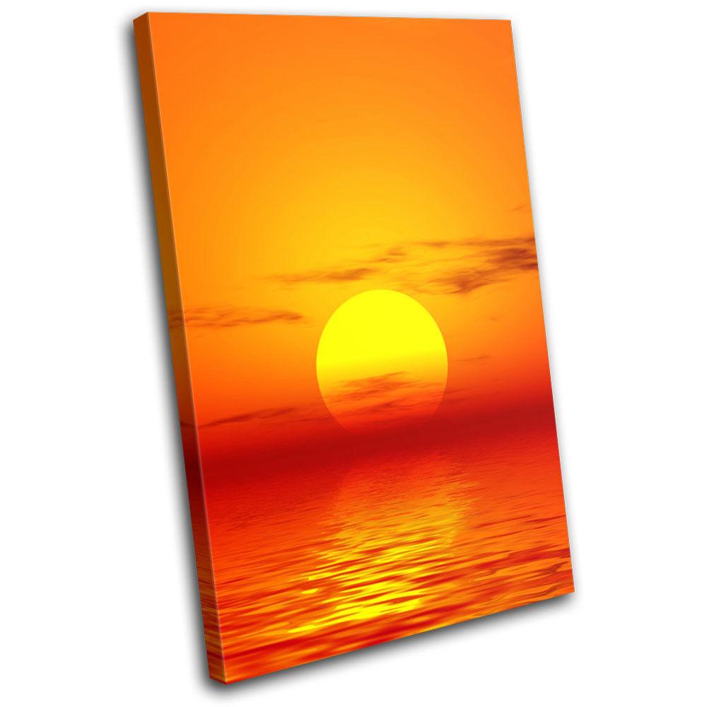 Abstract Orange Sunset Seascape SINGLE Leinwand Kunst Bild drucken
