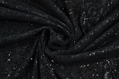 Maglia stretch nera paillettes e floccatura TESSUTO AL METRO STOFFA A METRAGGIO