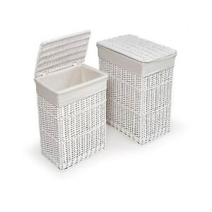laundry baskets wicker hamper set lid storage room organizer clothes white home ebay. Black Bedroom Furniture Sets. Home Design Ideas