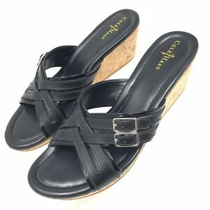Cole-Haan-Womens-Black-Leather-Cork-Wedge-Heel-Slip-On-Sandals-Shoes-Sz-8B