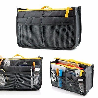 Gray organizer Sleeve Bag tablet gadget phone travel makeups jewelry pockets