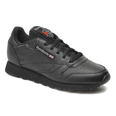 Nouveau Reebok Classic Junior Enfants Unisexe Enfants Baskets Chaussures en cuir-Noir