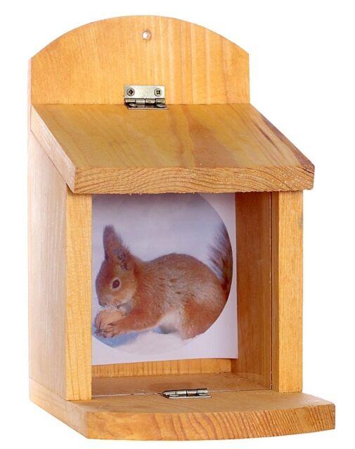 Futterhaus Eichhörnchen Futterhäuschen Holz Natur Eichhörner Garten robust NEU