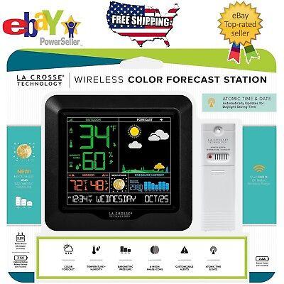 La Crosse Wireless Color Weather Station Clock Indoor Outdoor Temperature Sensor