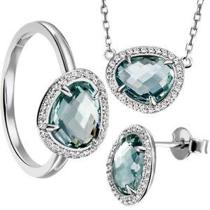 Goldmaid-Damenring-Kette-oder-Ohrringe-925-Silber-Glasstein-blau-Echtschmuck