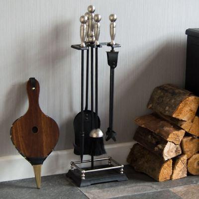 5 Piece Companion Set Rectangular Base Chrome Fireplace Tools By Home Discount