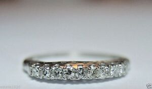 Antique-Art-Deco-Vintage-Diamond-Wedding-Band-Platinum-Rg-Sz-5-5-UK-K1-2-EGL-USA