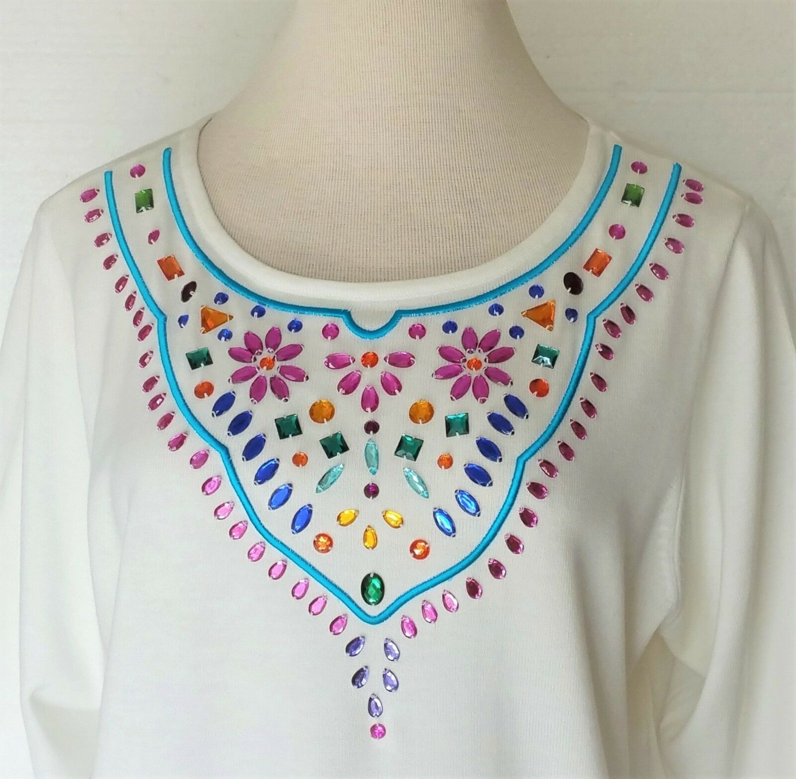Louis Dell'Olio Linea Blouse Top NEW Off-White Knit Embroidery & Rhinestones 2X